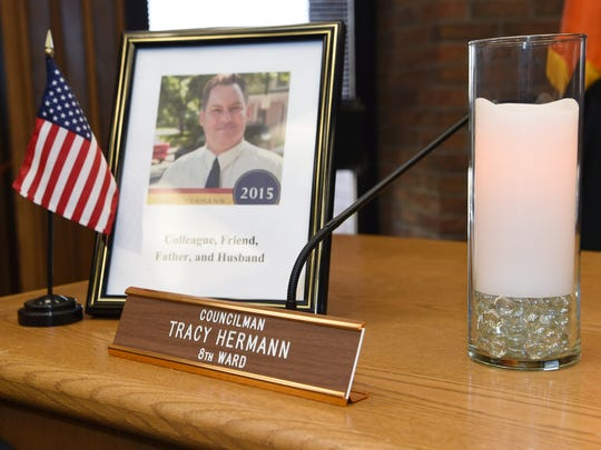 A memorial set up in the Common Council Chambers in