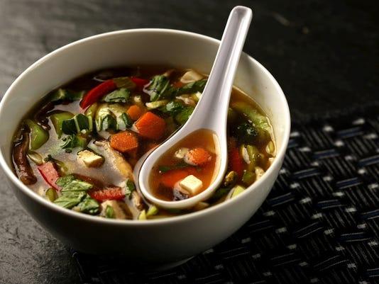 Crisp vegetables, aromatic broth make for a tasty soup