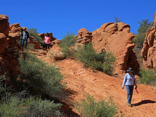 BackTrekkers hike along the Elephant Arch Trail in the Red Cliffs Desert Reserve north of Washington City.