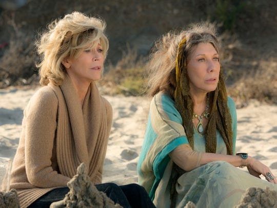 """Jane Fonda (left) and Lily Tomlin star in the Netflix Original Series """"Grace and Frankie,"""" which premiered on Friday, May 8."""