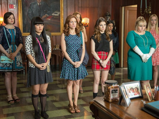 """Shelley Regner (from left), Hana Mae Lee, Brittany Snow, Alexis Knapp, Anna Kendrick, Chrissie Fit, Rebel Wilson and Kelley Alice Jakle star in """"Pitch Perfect 2."""""""