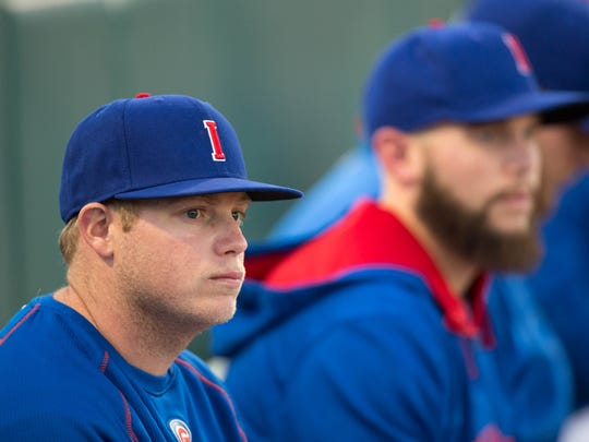 Iowa Cubs' Blake Cooper (37) watches the game from the bullpen Tuesday, May 12, 2015, during the Cubs' game at Principal Park in Des Moines.