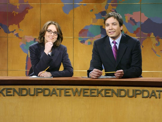 """Tina Fey and Jimmy Fallon in a """"Weekend Update"""" segment on """"Saturday Night Live."""""""