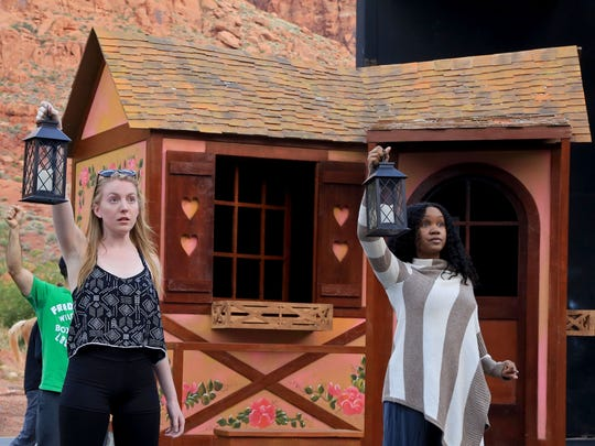 """Bonnie Harris and Marliss Amiea, who play two of the """"Silly Girls"""" in Disney's """"Beauty and the Beast,"""" rehearse Wednesday evening at Tuacahn Amphitheatre in Ivins City."""
