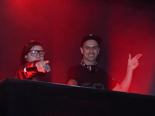 DJs Skrillex, left, and Boys Noize headline the main stage as the electronic music duo Dog Blood.