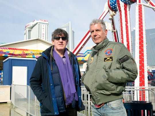 Chris Bourdain and Anthony Bourdain filming Parts Unknown