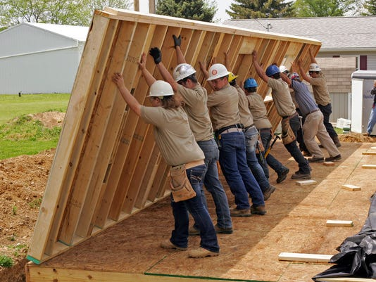 Coshocton County Career Center Building Trades students construct a Habitat for Humanity house in West Lafayette.