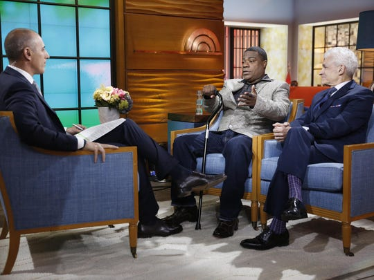 """This photo provided by NBC shows, from left, Matt Lauer, Tracy Morgan and Benedict Morelli appearing on NBC's """"Today"""" show on Monday, June 1, in New York."""