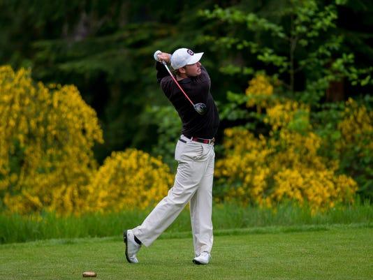third round of the NCAA regional men's golf tournament at Gold Mountain Golf Club in Bremerton, Wash