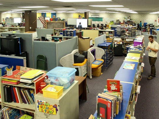Overcrowding and cramped cubicle classrooms are a problem in some of Freehold's school. Hundreds of students work in a large open room separated by half walls at the Learning Center at 30 Dutch Lane Road.