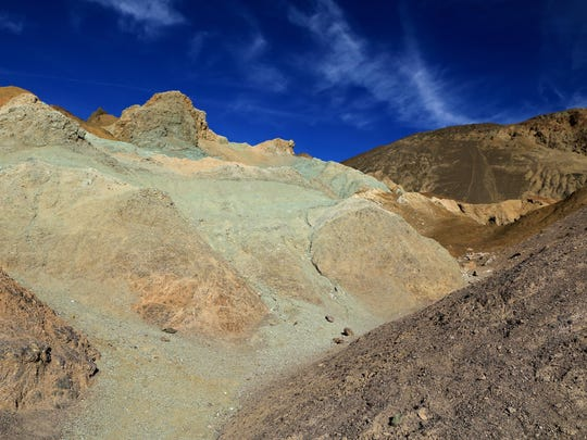 The Artist's Palette in Death Valley National Park is covered in a variety of colors.