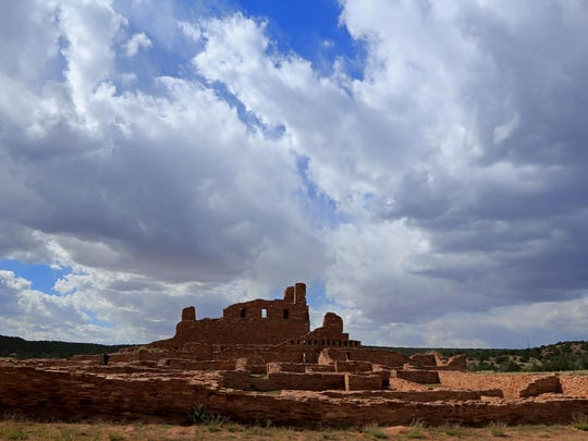 Clouds gather over Abo Pueblo in New Mexico's Salinas Pueblo Missions National Monument.