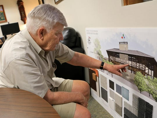 Fred C. Adams, 84, founder of the Utah Shakespeare Festival, has served in recent years as director of the Festival Capital Campaign, working to raise money for a new center for the arts, including the Engelstad Shakespearean Theatre, shown here in architectural renderings.