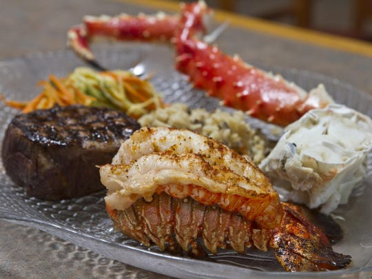 The Marathon, a 5-oz. lobster tail, grilled 8-oz. filet mignon, paired with a King Crab leg, at Runners Seafood Restaurant and Market.