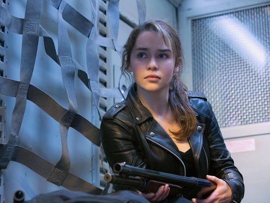 "Emilia Clarke as Sarah Connor, in ""Terminator Genisys."""