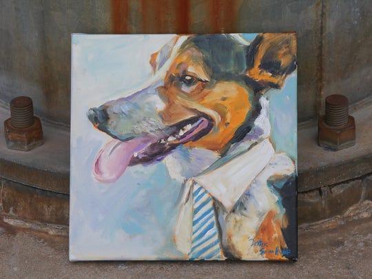 Holly McKnight's dog Dexter painted by Susan Howe. Jun. 29, 2015