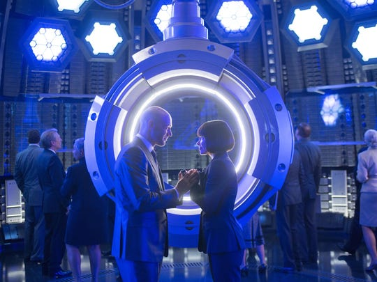 """Corey Stoll, left, and Evangeline Lilly star in """"Ant-Man."""""""
