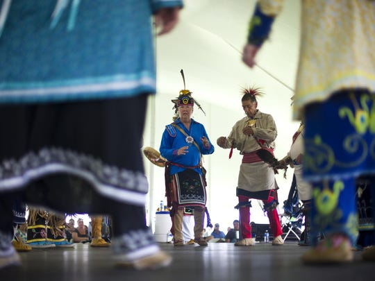 In 2013, Peter Jemison, left, of Ganondagan and Darwin N. John, right, of the Cattaraugus reservation perform Iroquois social dances during the 22nd annual Ganondagan Native American Dance & Music Festival.