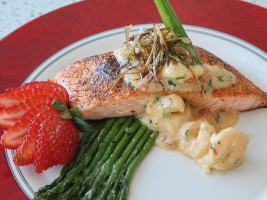 During a visit to Avon Pavilion, try the wild salmon crevette, a dish of pan-roasted North Atlantic salmon with grilled thyme asparagus and a Newberg sauce.