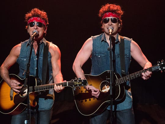 """Bruce Springsteen, left, and Jimmy Fallon dressed as """"Born in the U.S..A .""""-era Springsteen on """"Late Night With Jimmy Fallon"""" on Jan 14, 2014."""