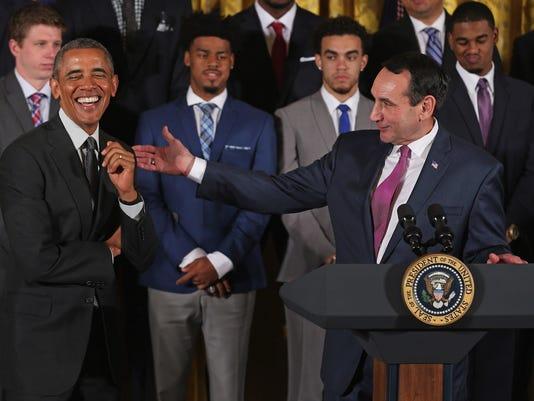 Obama Welcomes NCAA Champion Duke Blue Devils To White House
