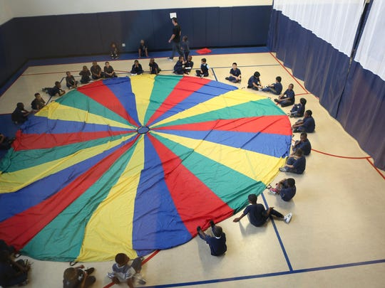 Students attend a physical education class at the Charter School of Educational Excellence in Yonkers.
