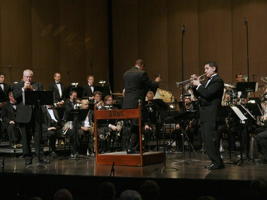 The Brass Band of Battle Creek plays at W.K. Kellogg Auditorium. The Brass Band of Battle Creek is one of several area recipients of an MCACA grant for the 2015-16 fiscal year.