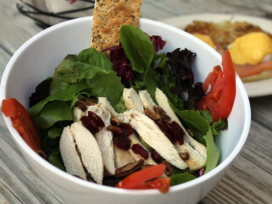 The chicken salad is with cranberries and Bechamel sauce.