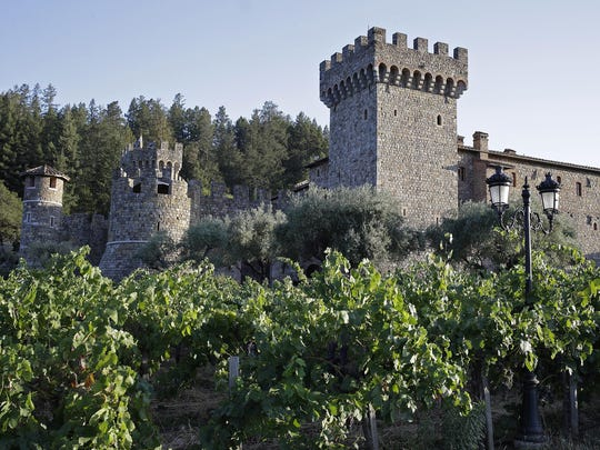 Vineyards surround the Castello di Amorosa winery in Calistoga, California. The winery is a replica of a 13th century Tuscan castle with stunning views from the turrets.