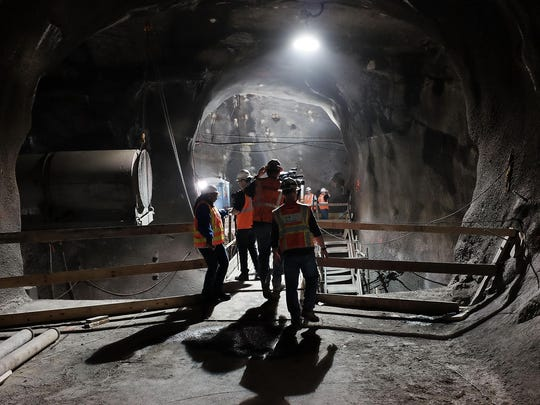 People walk in the East Side Access project, Nov. 4,