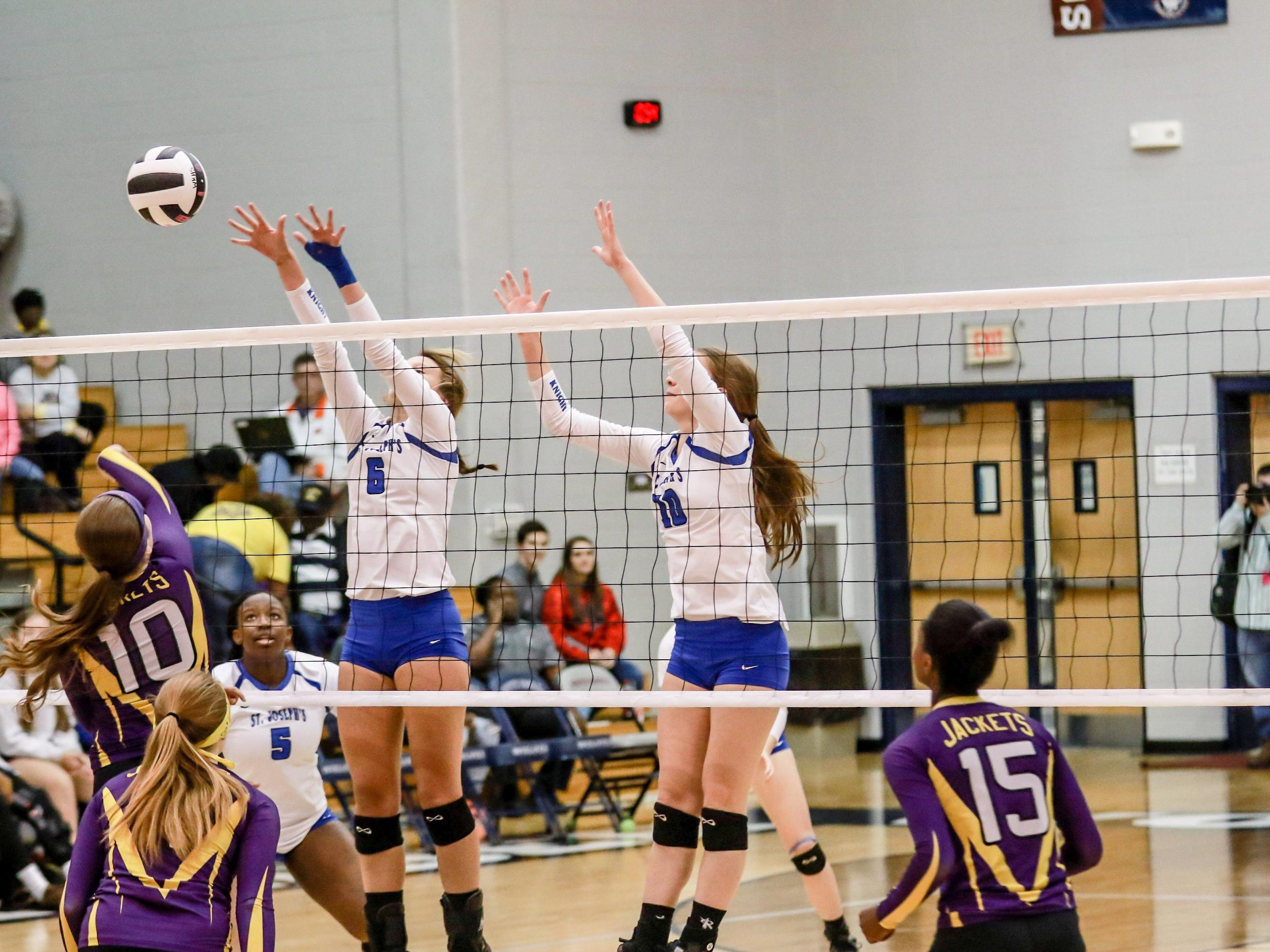 St Joseph's Knights defeated the Branchville Yellow Jackets to win their 5th 1A Volleyball State Championship Saturday , Nov.14, 2015 at White Knoll High.