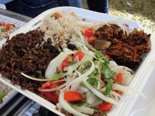 An optional combo is rice and beans, salad and pulled slow-cooked pork.