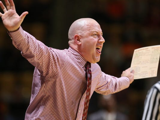 Virginia Tech head coach Buzz Williams yells from the sideline during an NCAA college basketball game against Wake Forest in Blacksburg Va., Wednesday, Jan. 13, 2016. (Matt Gentry/The Roanoke Times via AP) LOCAL TELEVISION OUT; SALEM TIMES REGISTER OUT; FINCASTLE HERALD OUT;  CHRISTIANBURG NEWS MESSENGER OUT; RADFORD NEWS JOURNAL OUT; ROANOKE STAR SENTINEL OUT; MANDATORY CREDIT