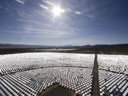 A look at some of the 300,000 computer-controlled mirrors at the Ivanpah Solar Electric Generating System in Primm, Nev.