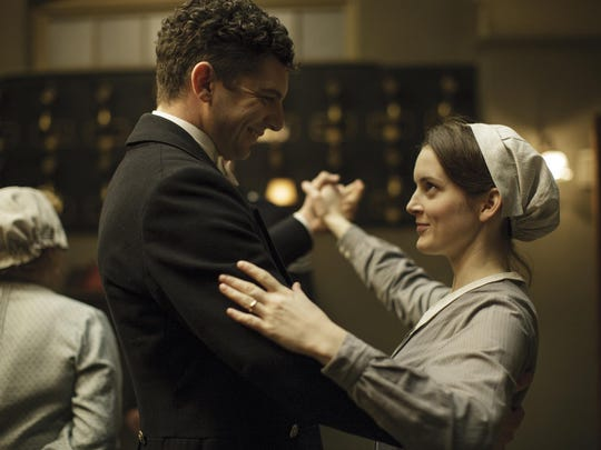 "Michael Fox as Andy Parker, left, and Sophie McShera as Daisy Mason in a scene from the final season of ""Downton Abbey."""