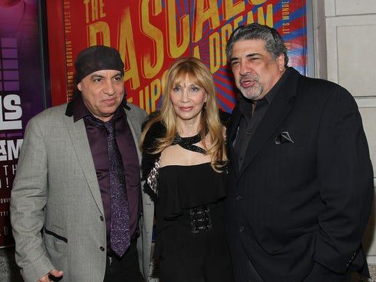 "Steven Van Zandt (left), Maureen Van Zandt and Vincent Pastore attend ""The Rascals: Once Upon A Dream"" Broadway opening night on April 16, 2013."