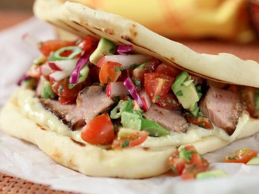 Tuna taco recipe leans Asian with wasabi, sesame