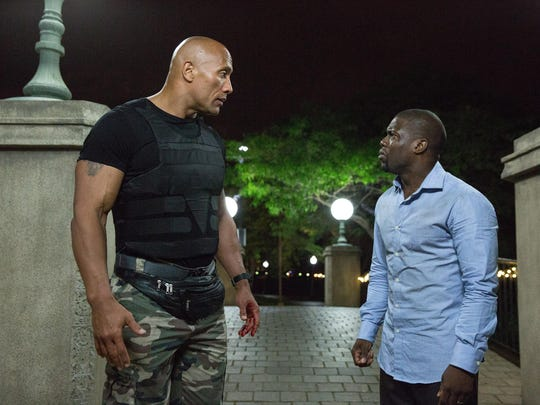 "Dwayne Johnson, left, and Kevin Hart are see in ""Central Intelligence."""