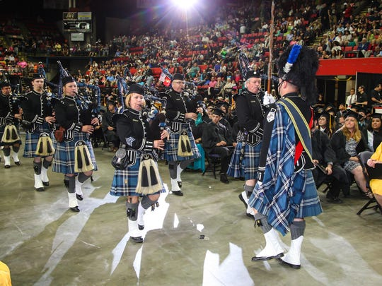The Broome County Celtic Pipe and Drum Band led the SUNY Broome Community College class of 2016 out of the arena during commencement on May 19.