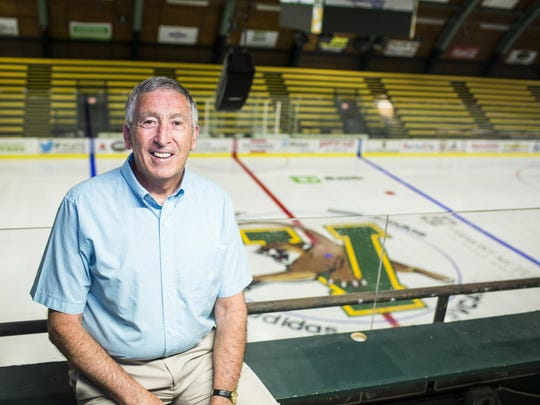 Outgoing University of Vermont athletic director Bob Corran poses for a portrait outside the school's athletic office last week. Corran officially concluded his 13-year run as athletic director on Thursday.