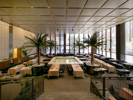 The Pool Room of The Four Seasons restaurant is set for lunch service, in New York's landmarked Seagram building, which has housed the restaurant for 57 years. Designed by the legendary architect Philip Johnson and the building's architect Ludwig Mies van der Rohe, the restaurant was a favorite of celebrities and business titans ever since it opened in 1959, and legend has it that Sophia Loren was the first guest to jump in the pool. The Four Seasons is scheduled to close on Saturday, July 16.