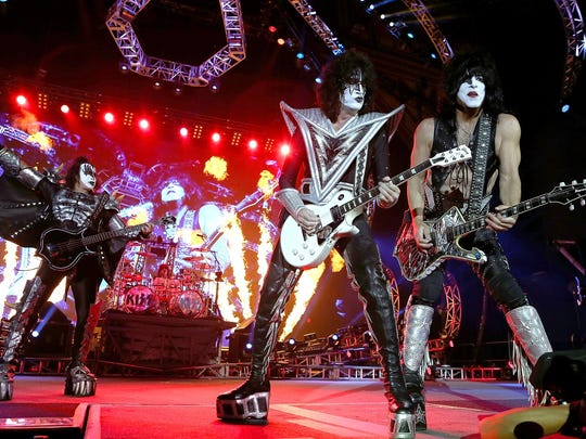 Gene Simmons, Eric Singer, Tommy Thayer and Paul Stanley of KISS perform in 2015 in Perth, Australia.