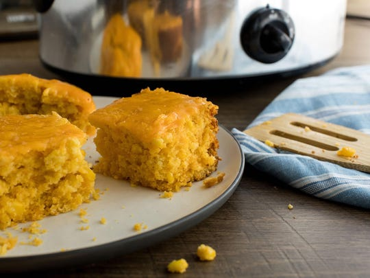 Cheesy cornbread is made in the slow cooker.