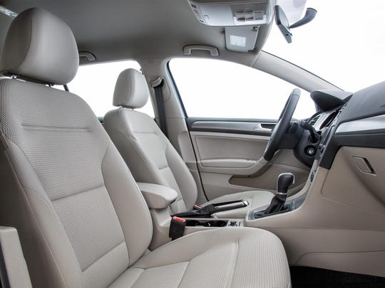 The 2017 Golf SportWagen's interior is well assembled, with supportive front bucket seats and generous leg room. However, the throttle is placed far to the right, forcing longer legged drivers to press their leg uncomfortably against the center console. The rear sears are firm and comfortably high, but legroom isn't as generous. Regardless, the cabin is hushed at highway speeds, and it's expansive use of glass ensures a good view out.