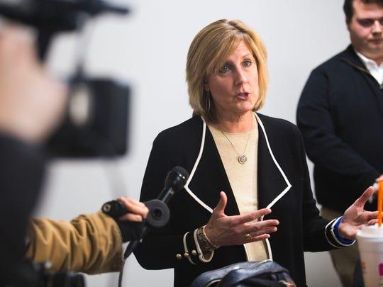 Rep. Claudia Tenney speaks to members of the media inside her office in downtown Binghamton in 2017.