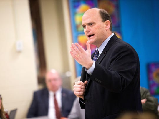 Tom Reed speaks during a town hall meeting held at