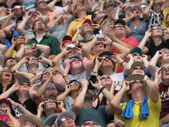 Peep college campuses looking at the eclipse
