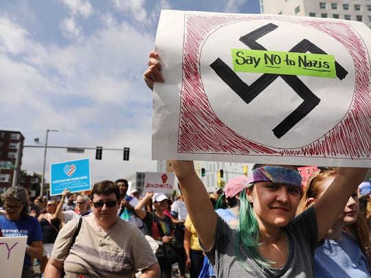 Thousands of protesters march in Boston against a planned 'Free Speech Rally' just one week after the violent 'Unite the Right' rally in Virginia left one woman dead and dozens more injured on August 19, 2017 in Boston.