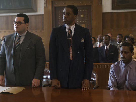 "Josh Gad, Chadwick Boseman and Sterling K. Brown in ""Marshall."""