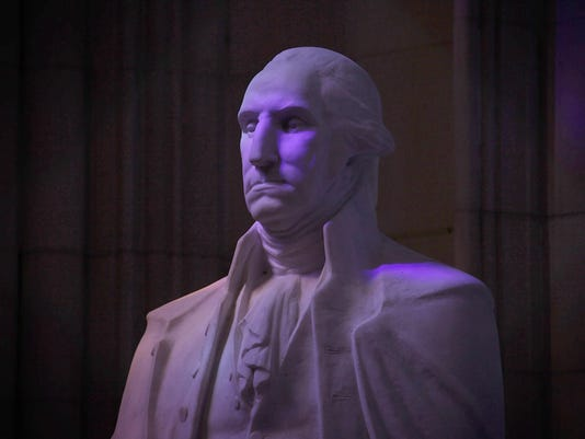 Statue Of Nation's First President George Washington Stands Within National Cathedral
